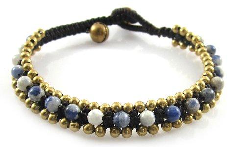 zuli Perlen Armband - Goldperle und Glöckchen Armband - Edelstein Armband - Schöne Handgemachte Mode Schmuck für Damen - Kinder und Jugendliche - JB-0092 (Perlen-armband-ideen)