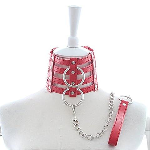 Halsband Damen Herren Unisex BDSM Mehrschichtige Mit Kette Bondage Sex Spielzeuge SM Slave Harness Erotik Rollen Spielen (Rot)
