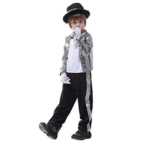 Kostüm Maskerade Kinder - LJA Kinder Jungen Michael Jackson Cosplay Kostüm Kindertag Halloween New Year Maskerade Billie Jean Superstar Kostüme