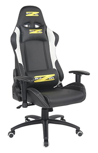 BraZen Shadow Pro Racing PC Gaming Chair - Black/White