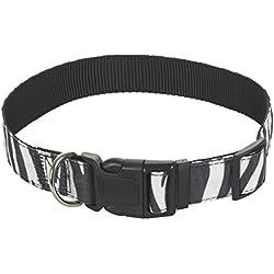 CHAPUIS SELLERIE SLA387 Collare per cani e gatti - Collare in velluto zebrato - Larghezza 10 mm - Lunghezza 30 cm - Misura XS