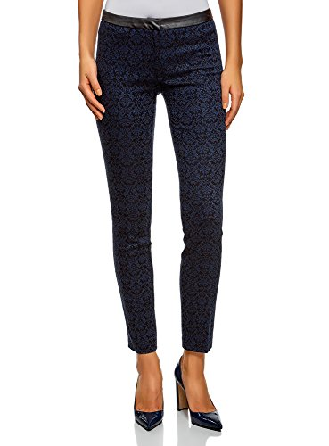 oodji Ultra Mujer Pantalones Stretch con Cintura de Piel Sintética, Azul, ES 36 / XS