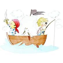 Vinilo infantil // Piratas // Sueños de Cigueña (150x100cm niño niña representacion pintura a mano)