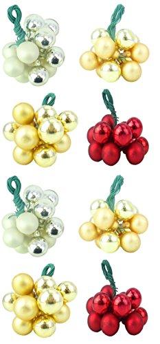 Set von acht glänzenden und matten Assorted Small Bauble Cluster - Champagner, Gold, Rot und Silber - Perfect Christmas Hanger