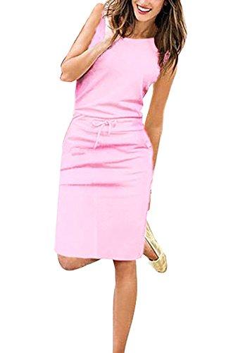 Yieune Sommerkleider Damen Abendkleid Ärmelloses Einfarbig Kleid Casual Strandkleid Langes Cocktailkleid Strickkleid (Pink S)
