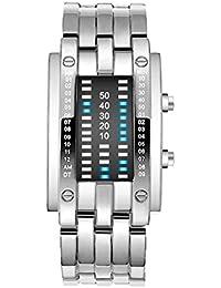 Creative Binary Matrix - Reloj Digital para Hombre (LED, Resistente al Agua, Acero