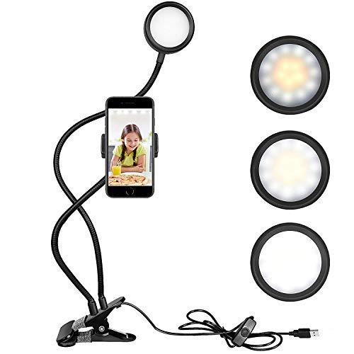 TFJ Selfie Ring Light Anneau Lumineux Lampe LED 3-Mode d'Éclairage avec Support Portable et pour Le Flux en Direct et Le Maquillage pour Mobile
