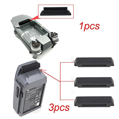 Wawer 1PC for Frame 3PC for Battery Dustproof Plug Cover for DJI Mavic PRO (Schwarz) -