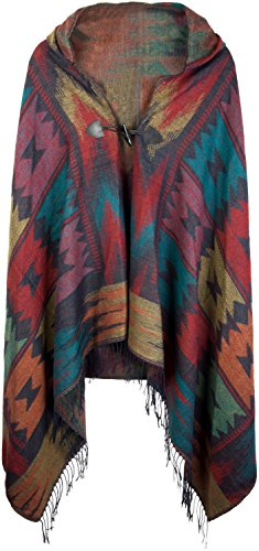 im Azteken, Ethno Design mit Kapuze und Knebelknopf Verschluss, Umhang Cape, Damen 08010006, Farbe:Dunkelblau-Rot-Türkis (Kapuzen Cape)