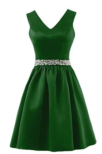 Sunvary semplice a-Line V-Neckline Gowns-Pantaloncini in raso per abiti da sera, con cintura Green