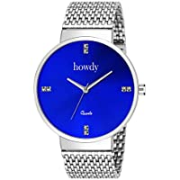 Howdy Analog Blue Dial Men's Watch with Safer Chain