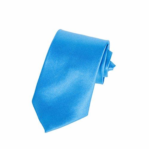 """Robelli Homme Classique À Clipser 3"""" Large Satin Sécurité Cravate Aqua bleu"""