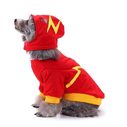FORMEG Hundekleidung Haustier Hundekostüm Set Welpen Katze Kostüm Party Cosplay Kleidung Spaß Halloween Weihnachten Hund Welpen Haustier Rollenspiel - Katze Im Flash Kostüm