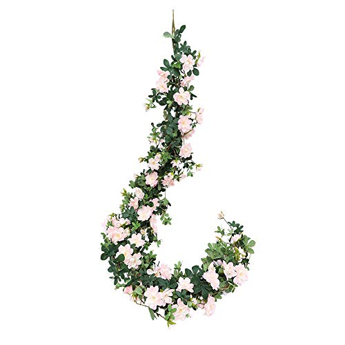 JUSTOYOU Rose Murraya paniculata Girlande Gefälschte Hängende Seide Rote Rose Reben Blumen Efeu Pflanzen Hängende Blätter für Hochzeit Garten Wand Valentine Decor(5.7ft,Pink) (Seide Rosen Rote)