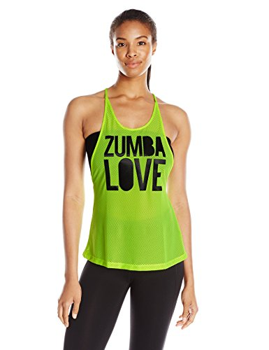 9a07f6605a03 Zumba Fitness Love Mesh - Camiseta sin mangas para mujer, color amarillo  (caution), talla XS