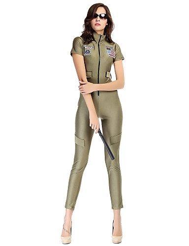 GSP-Combinaisons Aux femmes Manches Courtes Moulant/Décontracté Spandex/Polyester Moyen Micro-élastique army green-xl