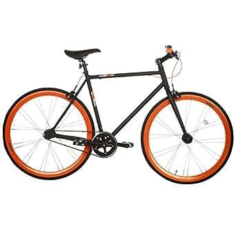 Muddyfox Mens Fixie Race Bike Black Orange 700Wh/60Fr