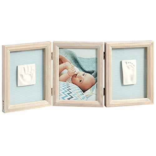 Baby Art My Baby Touch Double Print Frame, 3er Bilderrahmen für Foto, Hand und Fußabdruck, eckig, stormy