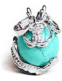 TOOGOO(R) 1 PCS Natural 15mm Piedra Preciosa Bola Colgante Envuelta Plata Aleacion Dragon para Mujeres Encantada Joyeria Collar - Turquesa