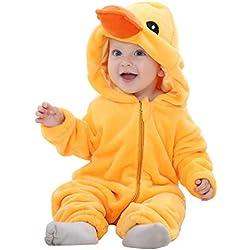MICHLEY Bebé ropa Niños Niñas disfraces primavera Franela Traje animales Pelele yazi-70cm
