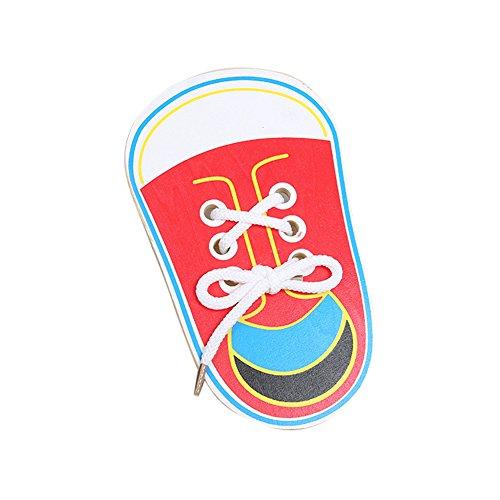 Domybest Kinder Holz Schnürung Schuhe Kleinkind Kinder Lehre Krawatte Schnürsenkel Spielzeug