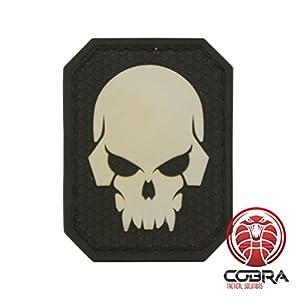 Cobra Tactical Solutions Fluo Skull tête de mort 3D PVC patch noir Hook & Loop Airsoft