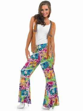 Jahren Hippie 1970er (HIPPIE PATTERNED FLARES Adult Fancy Dress Costume All)