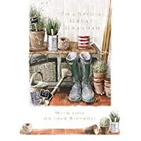 Greeting Card (LD-GH0872) - Great Grandad Birthday - A Day in The Garden - from The At Home Range - Foil Finish