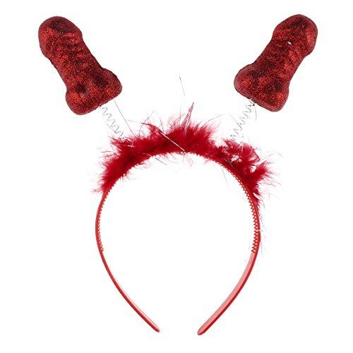 Agoky Haarreifen mit Zwei Penissen aus Kunststoff ideal für Junggesellinnenabschied Scherzartikel Halloween Fasching Kostüm Zubehör Rot One Size (Penis Halloween Kostüm)