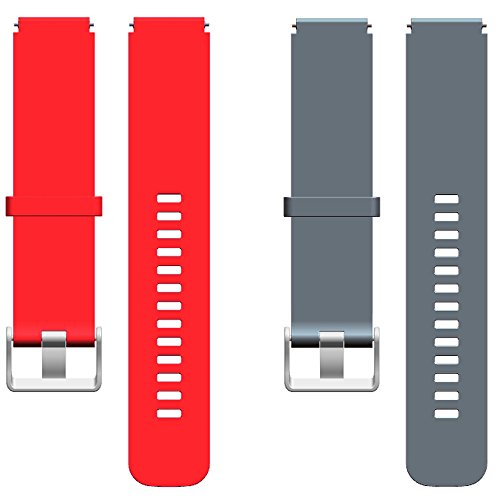 For Huawei W1 Watch Bands, Replacement Wristband for Huawei W1, Active Bright Colors Silicone 18mm Width Strap for Huawei W1 Watch, Red+Gray