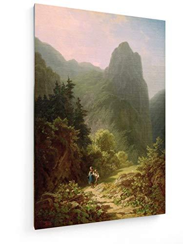 Carl Spitzweg - Bergschüler am Ammerg - Kofel - 20x30 cm - Leinwandbild auf Keilrahmen - Wand-Bild...