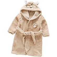 Bata infantil de engrosamiento de franela en pijamas de animales con capucha de felpa de coral