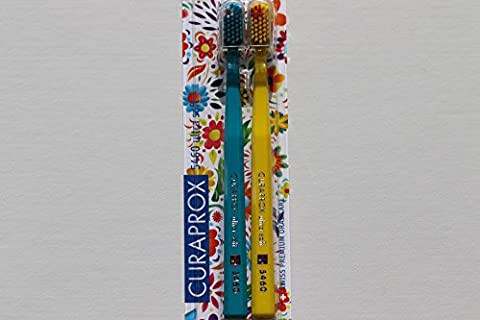 Ultra soft toothbrush, 2 brushes. Curaprox Ultra Soft 5460, Limited Edition, Sign of Love, Peace & Happiness. Softer feeling & better cleaning, in bright & wonderful colours. Featuring a small flower on the bristles of each brush. The ideal gifts for Him & Her.