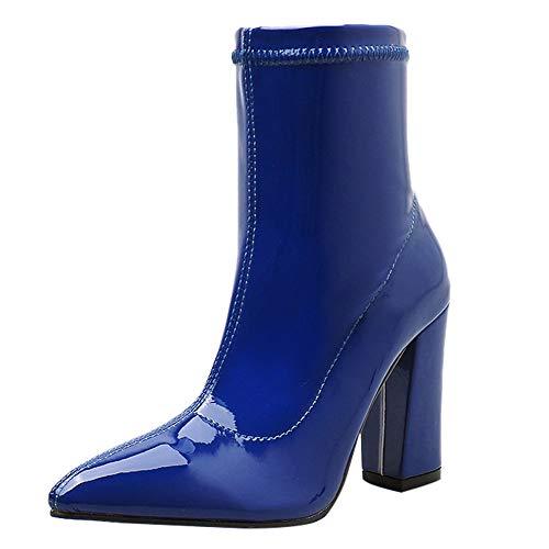 LuckyGirls Botas De Media Caña Botines Charol Zapatos De Tacón para Mujer...