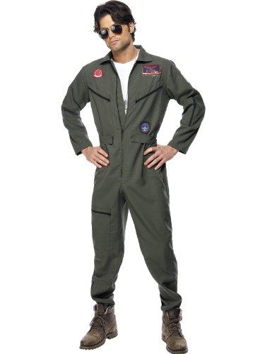 Karneval Herren Kostüm Top Gun Overall grün Anzug aus Film Größe L