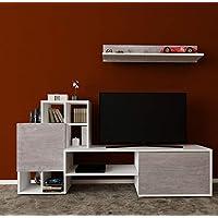 برافو طاولة تلفاز مع ارفف حائط خشبية - متعدد الالوان