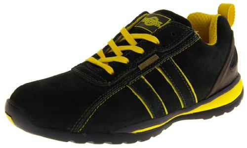 Wildleder Lace Schuhe (NORTHWEST TERRITORY Herren Leder Schuhe Arbeitsschuhe Sicherheits Zehenkappe Turnschuhe - Leder, Marineblau & Gelb Wildleder, 46)