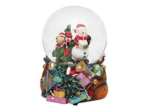 Bella palla di vetro con neve e scatola musicale, disegno: pupazzo di neve, circa 14,5 x 11,3 cm/ Ø 10 cm