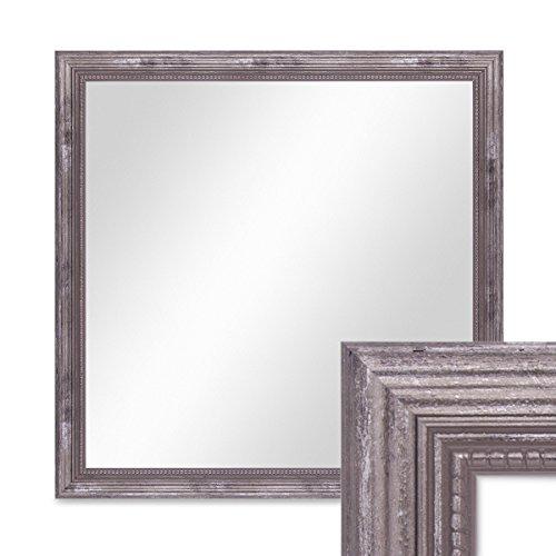 PHOTOLINI Wand-Spiegel ca. 46x46 cm im Massivholz-Rahmen Barock-Stil Antik Silber...