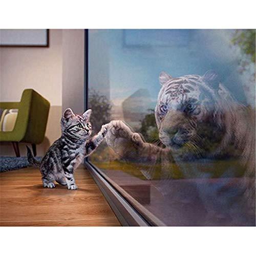 Sunnay 5D Strassstein Gemälde zum Selbergestalten, Bastelset mit Kunstharzsteinchen, Mosaik-Set mit komplettem Zubehör,Katzen Spiegel Tiger, 40x30cm