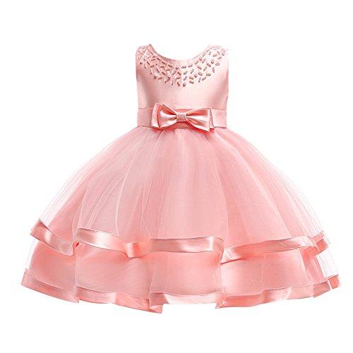 WUSIKY Sommerkleid Kinder Baby Mädchen Bowknot Perle Prinzessin Sleeveless Formelle Kleidung Dresss Minirock Tutu Hoop Rock Tüll Unterrock Kinder Geschenk 2019 Kleid(140,Rosa) -