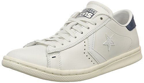 Converse, Pro Leather Lp Ox Leather Sneaker,Unisex Adulto, Bianco (White Dust/D.Blue), 38