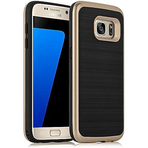 [ Samsung Galaxy S7 Case ] - Funda QUASAR JammyLizard Semi-Rígida De Silicona Efecto Nacarado Metálico Back Cover, DORADO