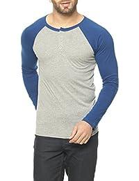 Gritstones Grey Melange/Indigo Full Sleeve Round Neck T-Shirt