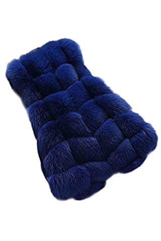 YMING Womens Chic Fox Faux Fur Vest Coat Jacket Sleeveless Faux Fur Gilet Waistcoat,Sapphire