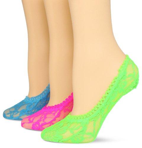 K. Bell Socks Womens 3 Pair Pack Lace Liner