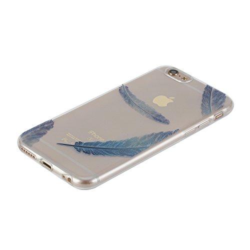 Per iPhone 6/6S 4.7 Custodia morbido,Herzzer Mode Crystal Creativo Elegante Blu acchiappasogni Quadro Dipinto Dreamcatcher Design trasparente case cover,Protettivo Skin in Liscio Smooth Toccare Unico Blu piuma