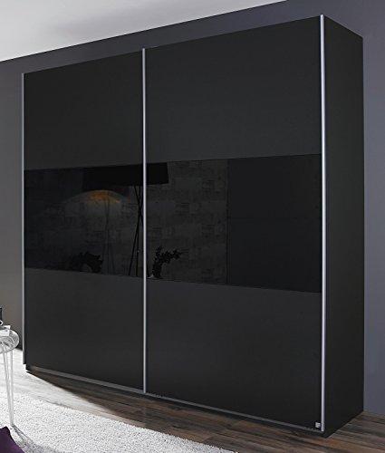 Rauch Schwebetürenschrank 2-türig Grau metallic/Glas schwarz 261 x 210 x 59 cm