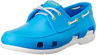 Crocs Men's Beach Line Ocean and White Rubber Boat Shoes - M10
