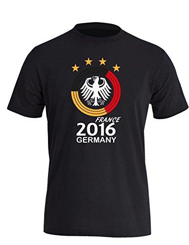 Deutschland EM 2016 Kreismotiv - Herren Rundhals T-Shirt Schwarz/W-Schwarz-Rot-Gelb